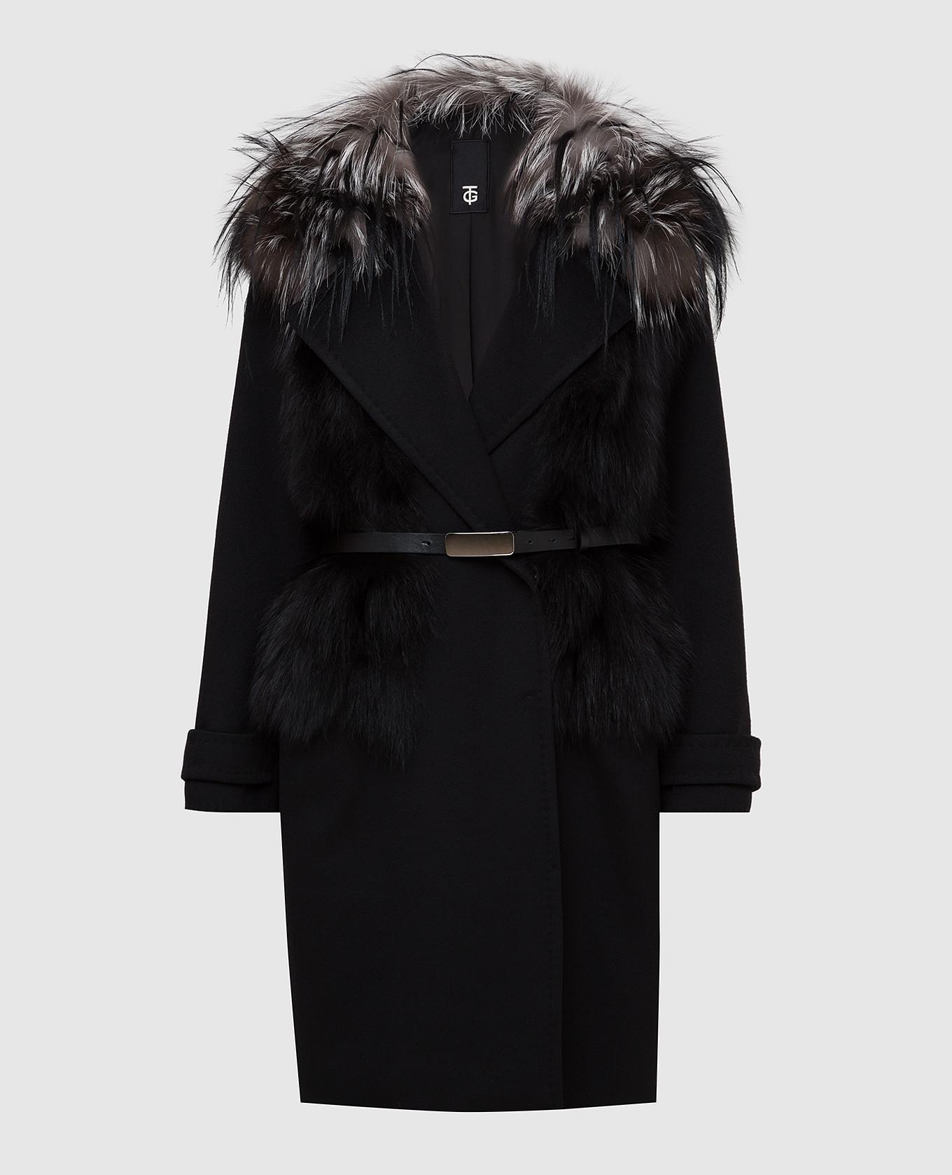 Черное пальто из шерсти и кашемира с мехом лисы