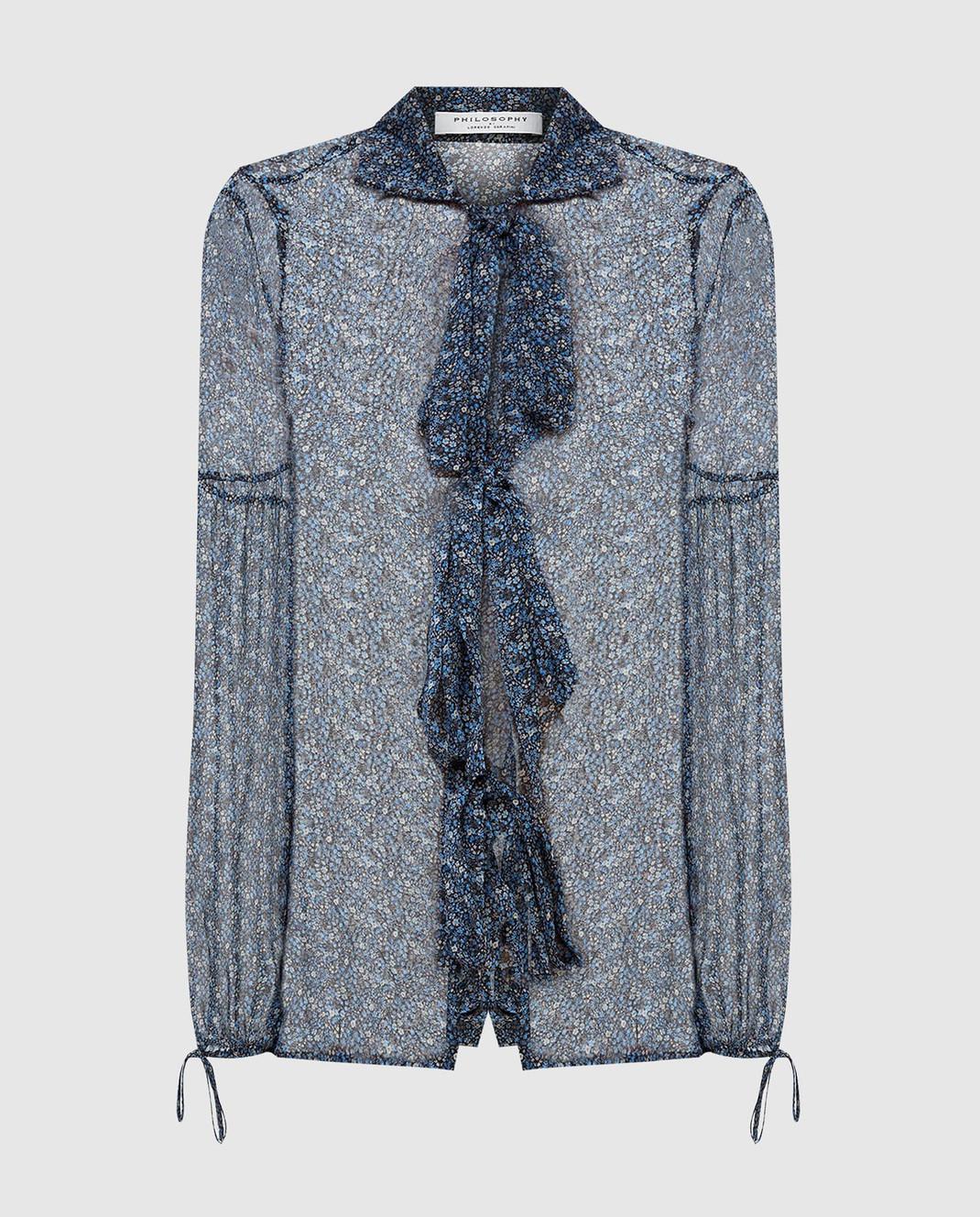 Philosophy di Lorenzo Serafini Синяя блуза из шелка A0219