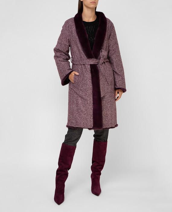 Двухстороннее пальто с мехом норки hover