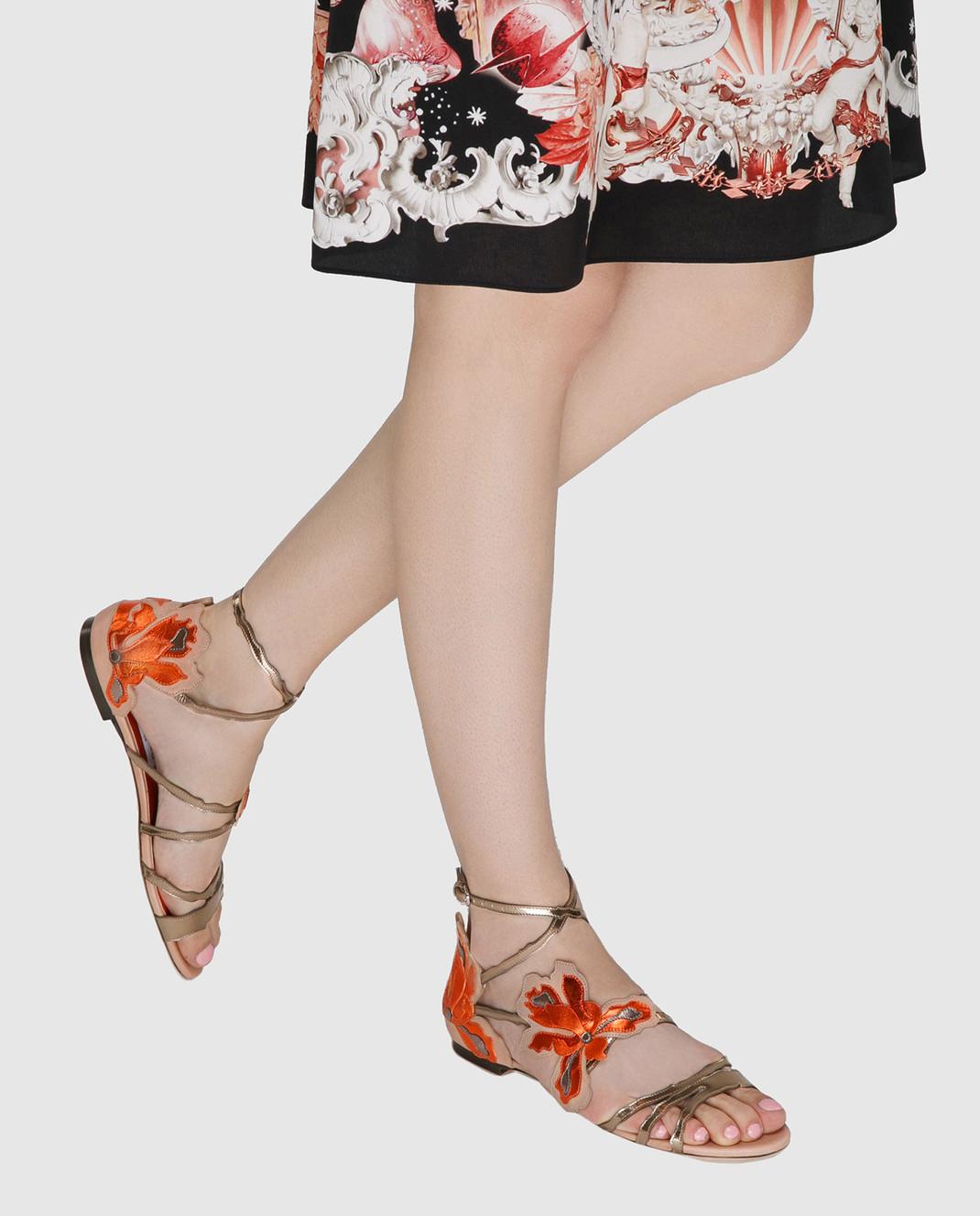 Jimmy Choo Золотистые кожаные сандалии Lolita LOLITAFLATMIV изображение 2
