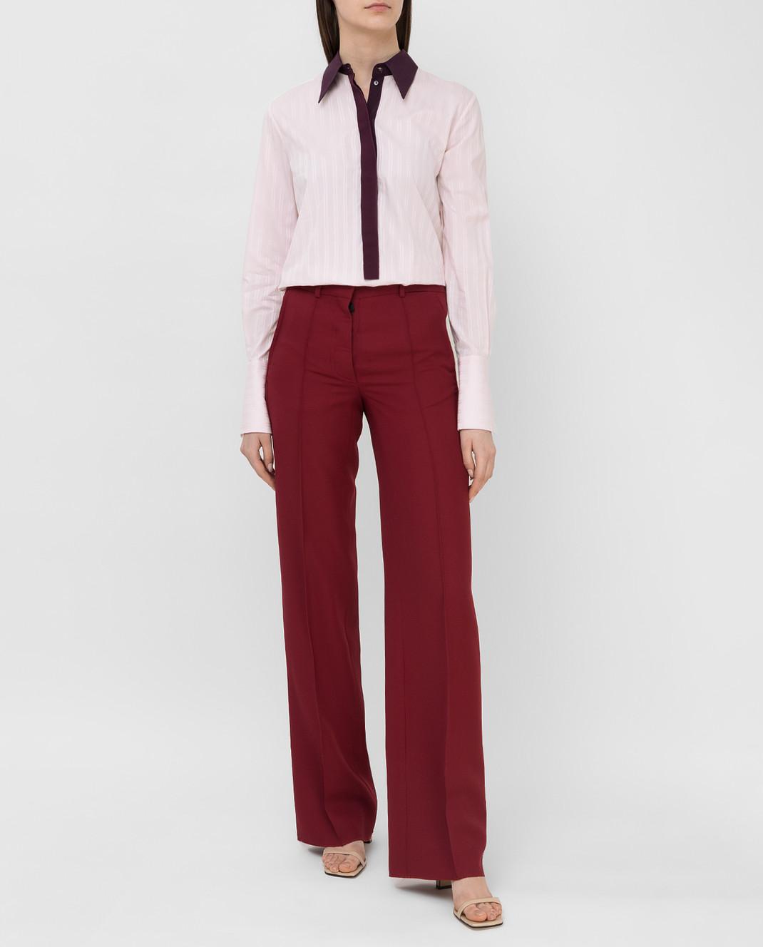 Victoria Beckham Бордовые брюки из шерсти TRWID2500D изображение 2