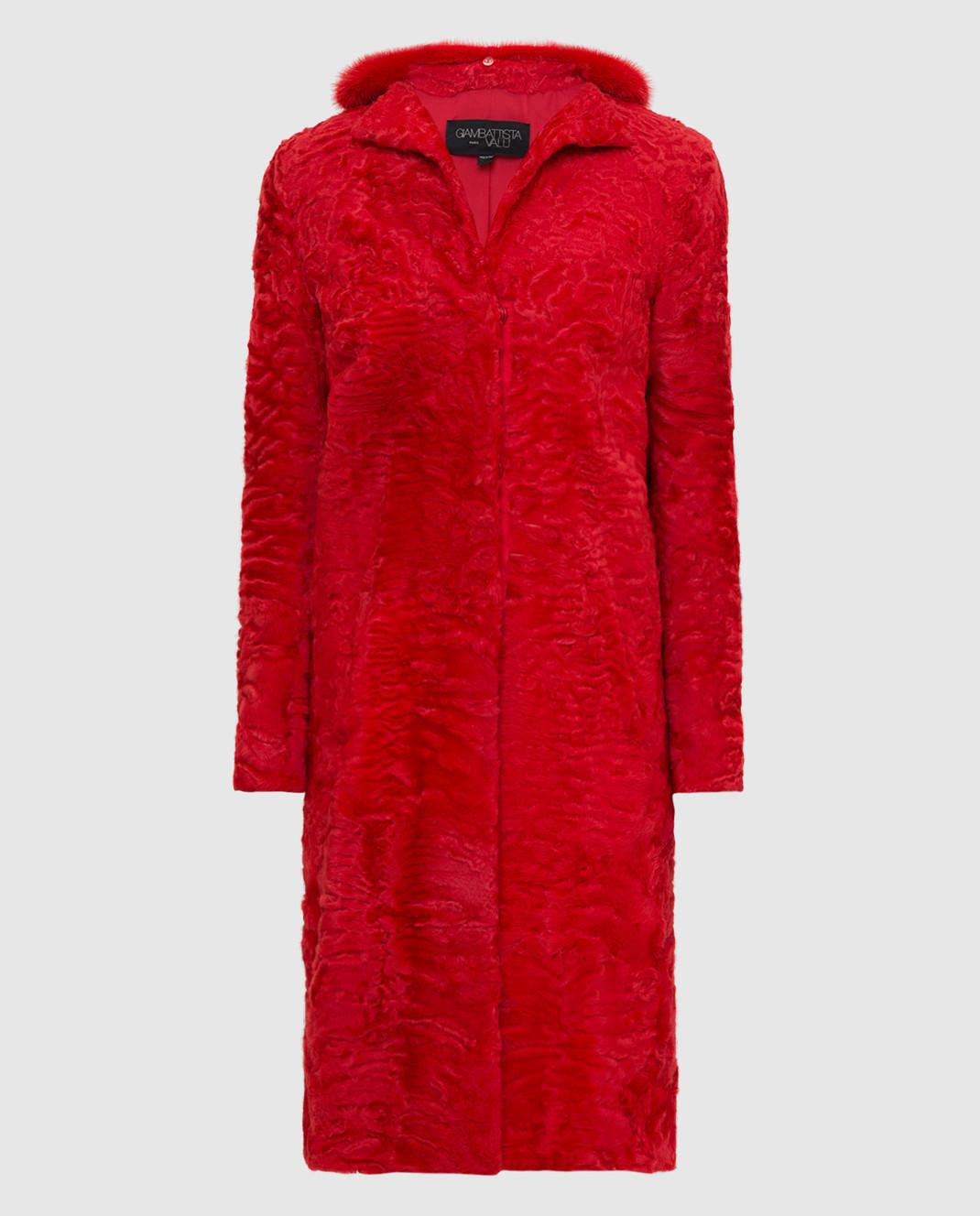 Giambattista Valli Красная шуба из персидского ягненка с воротником из меха норки GBE45A00CPP0365
