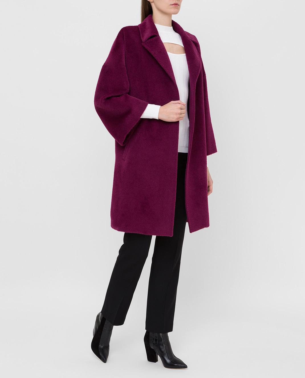 Heresis Светло-фиолетовое пальто из ламы и шерсти K8095 изображение 2