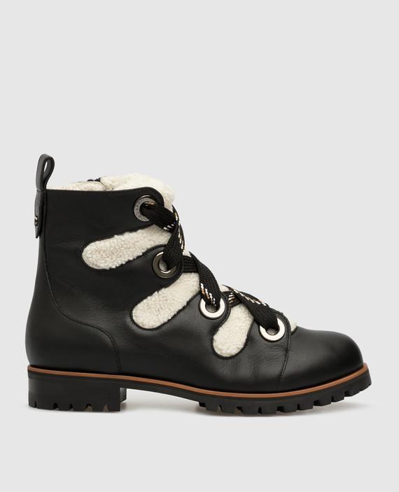 """Черные кожаные ботинки """"Bei Flat"""" на меху"""
