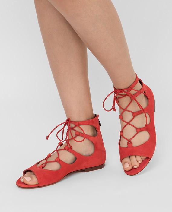 Алые замшевые сандалии hover