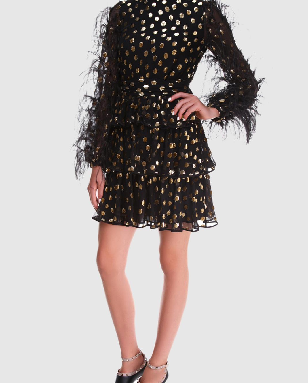 Valentino Черное шифоновое платье QB2VAIK043C изображение 2