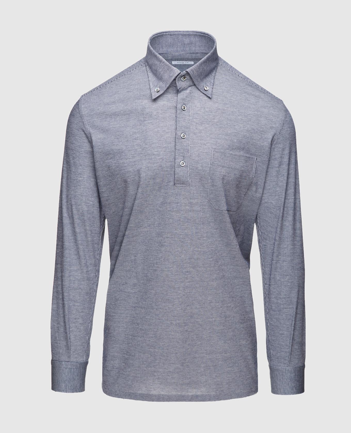 Синяя рубашка с длинным рукавом