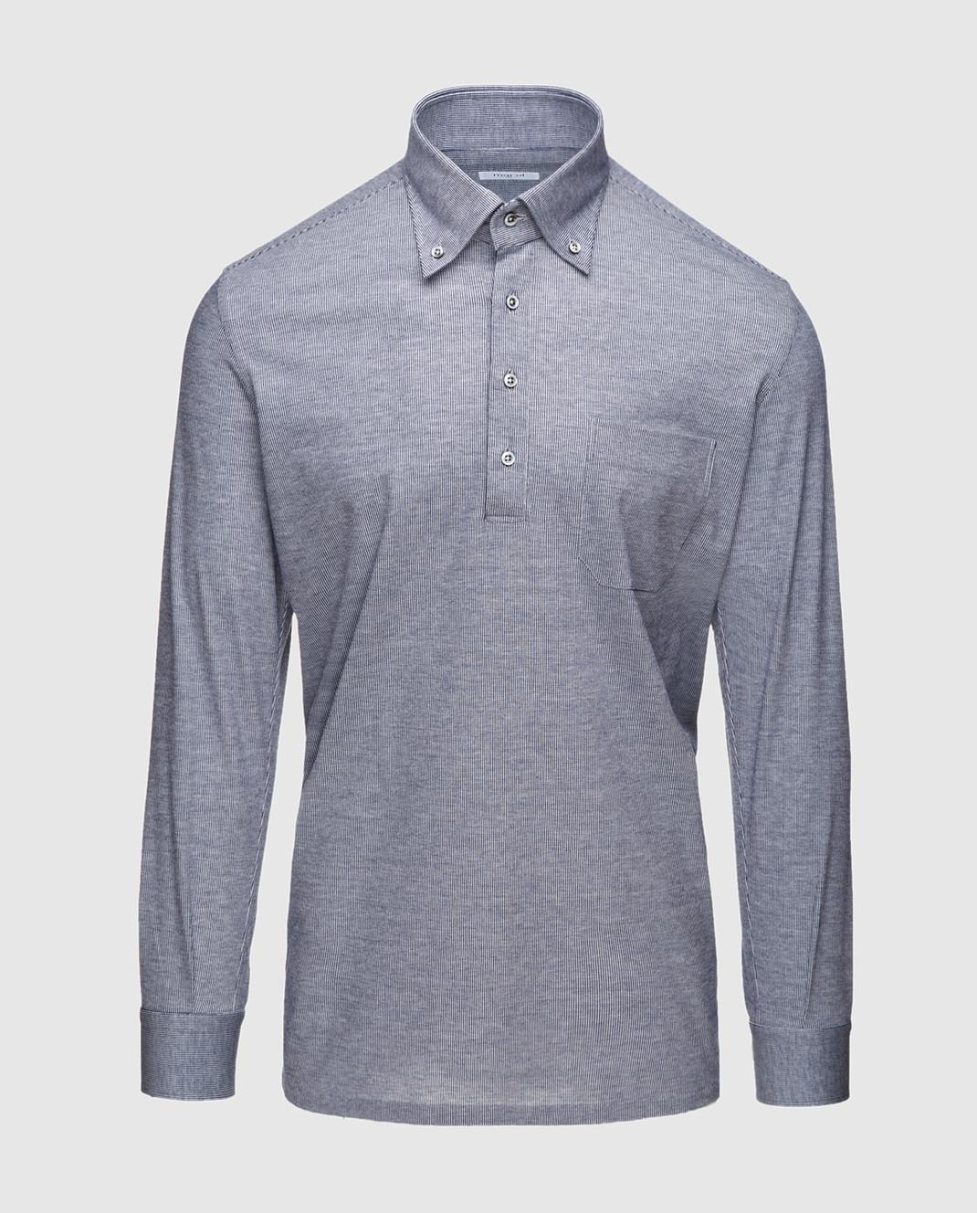 Marol Синяя рубашка с длинным рукавом 6726