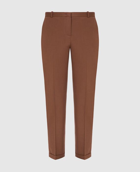 Коричневые брюки из шерсти