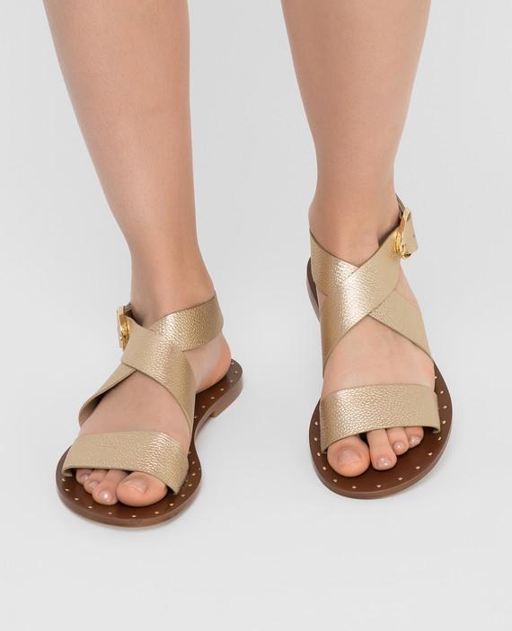 Золотистые кожаные сандалии hover