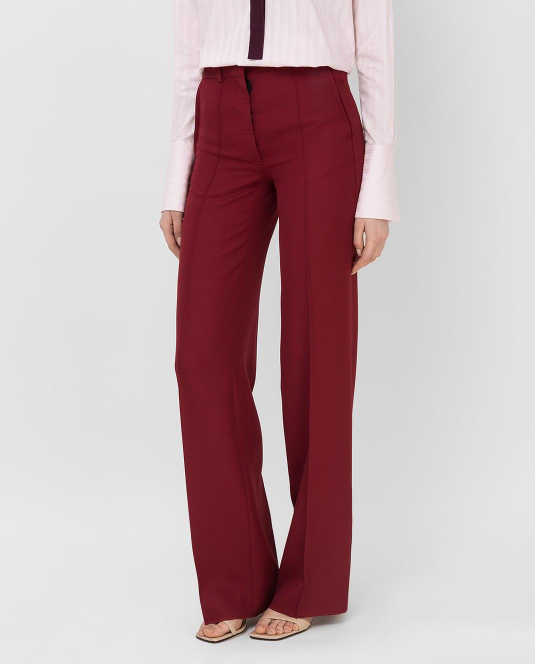 Victoria Beckham Бордовые брюки из шерсти TRWID2500D изображение 3