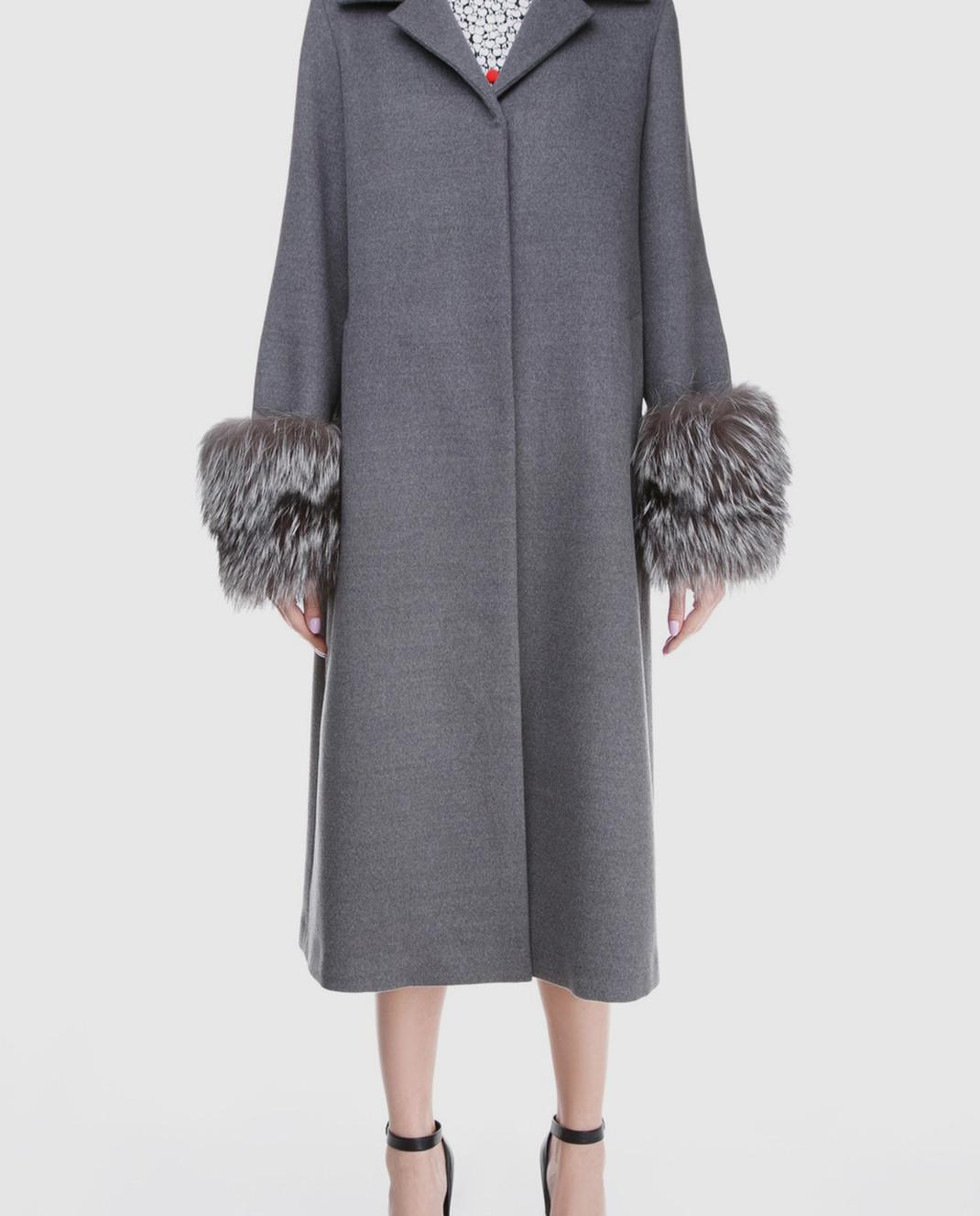 Simonetta Ravizza Серое пальто с мехом VENIS изображение 3