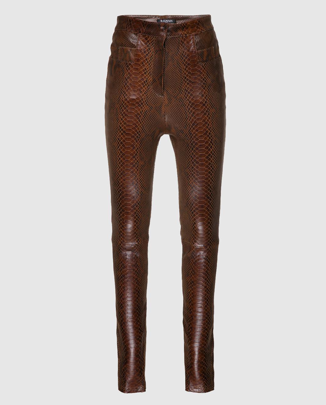 Balmain Коричневые кожаные брюки 115500