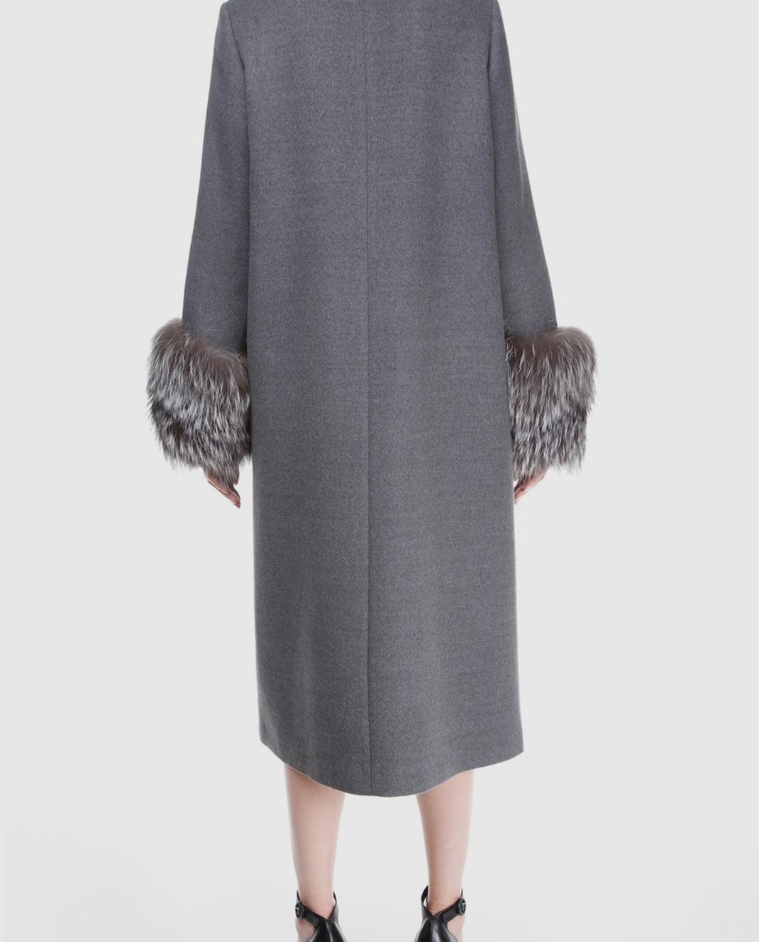 Simonetta Ravizza Серое пальто с мехом VENIS изображение 4