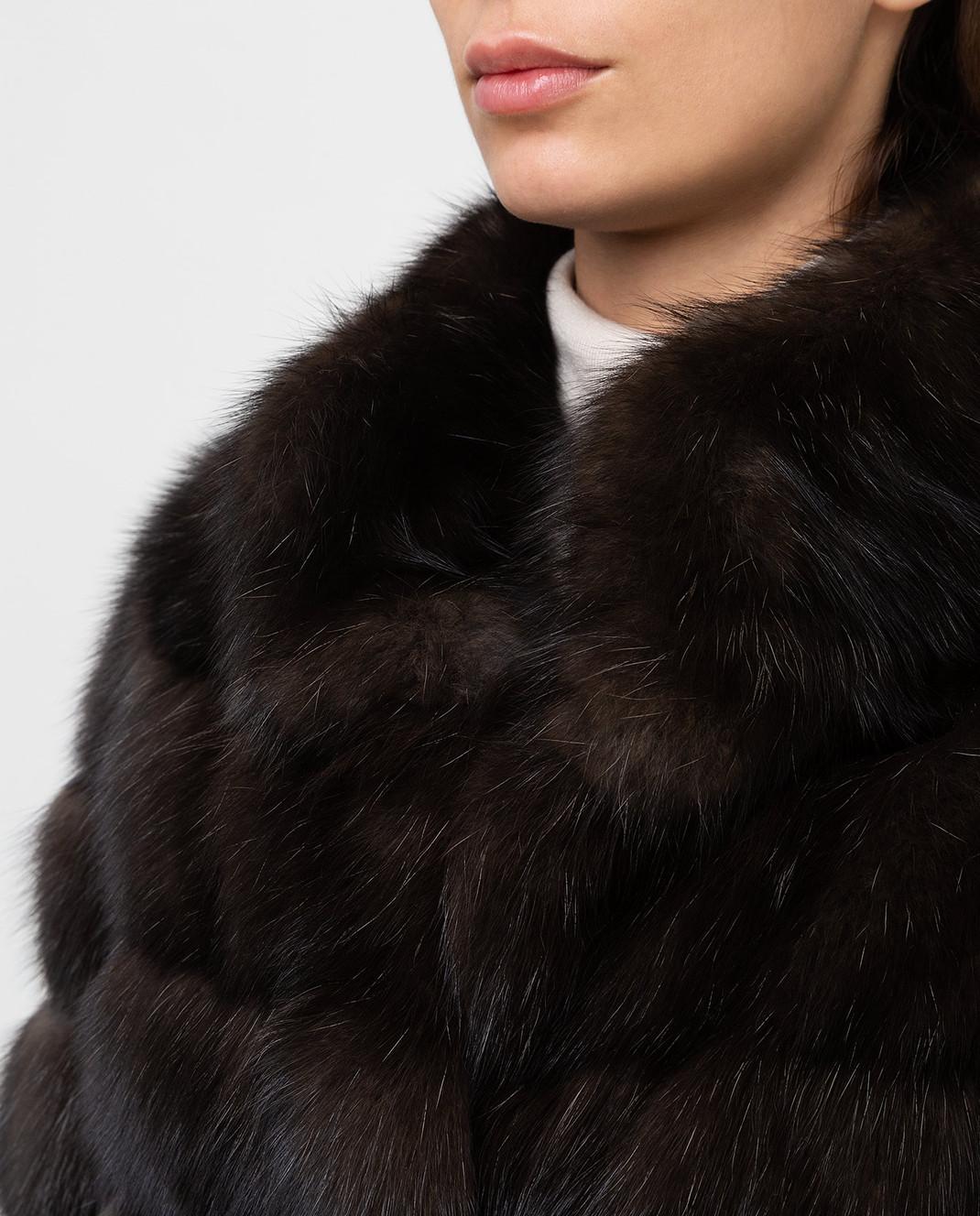 Real Furs House Темно-коричневая шуба из соболя SBR28622DARKSILV290 изображение 5