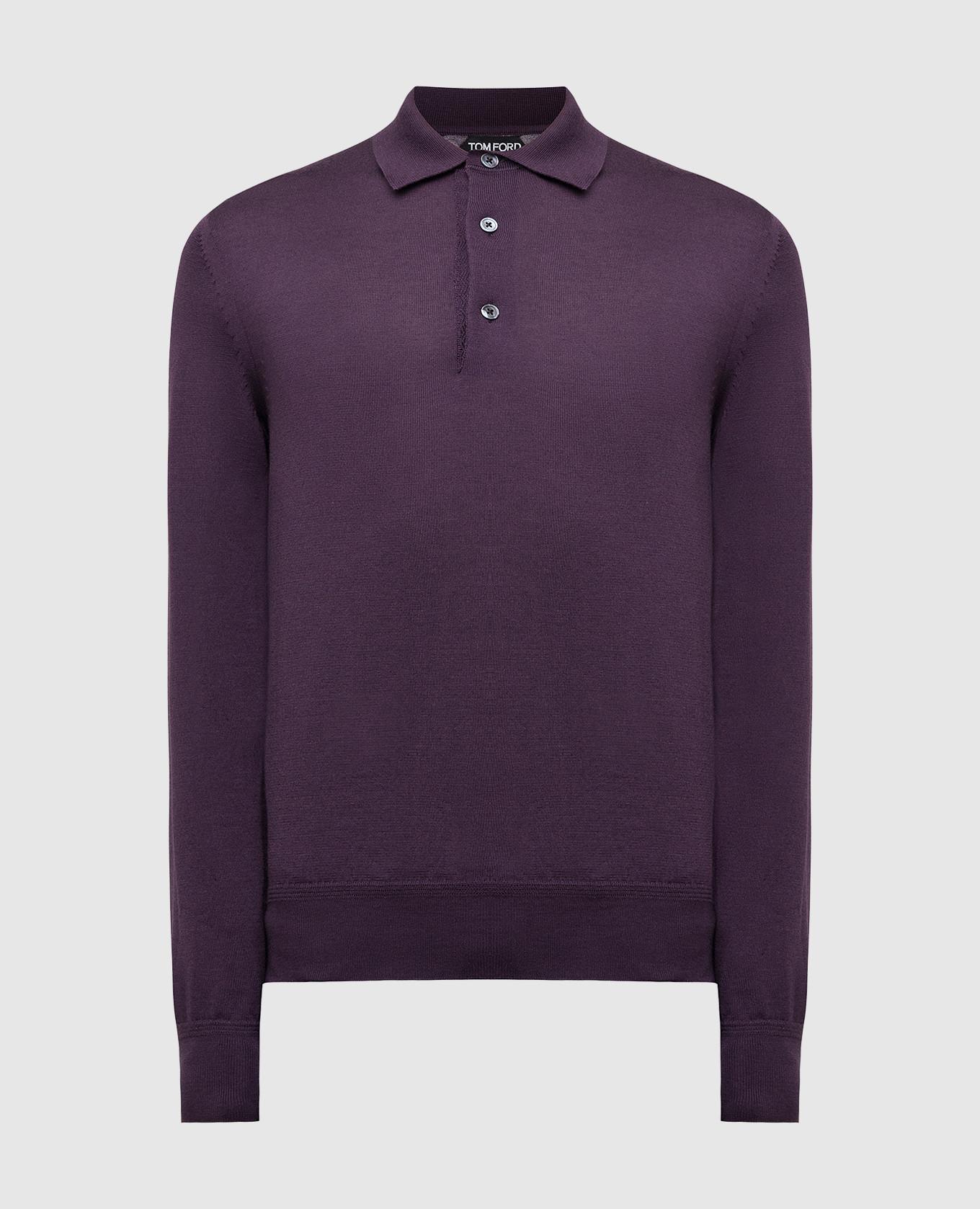 Темно-фиолетовое поло из кашемира и шелка