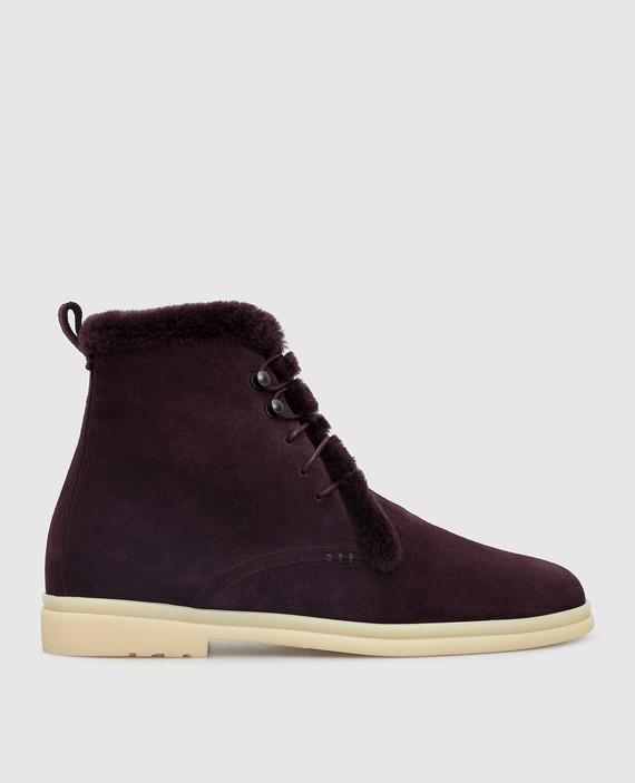 Фиолетовые замшевые ботинки