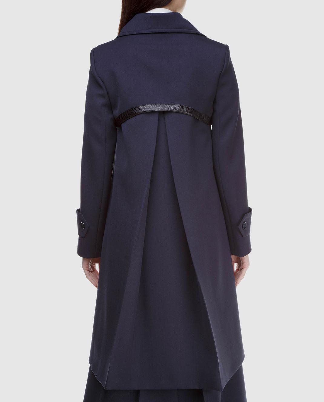 NINA RICCI Темно-синее пальто из шерсти 17HCMA016WV0220 изображение 4