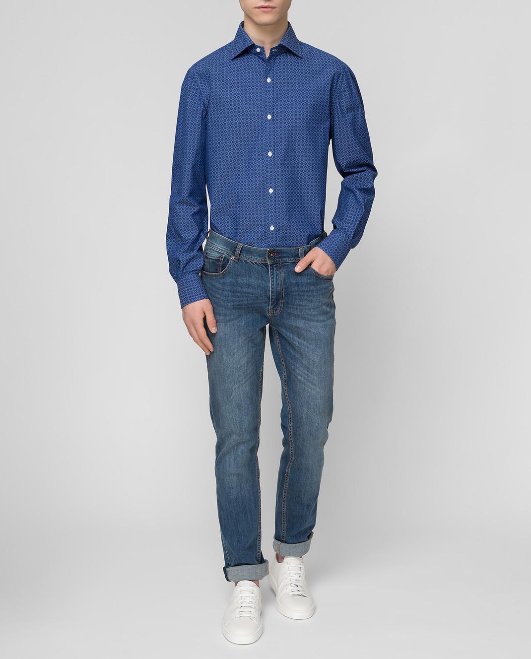ISAIA Синяя рубашка CAM088C6083 изображение 2