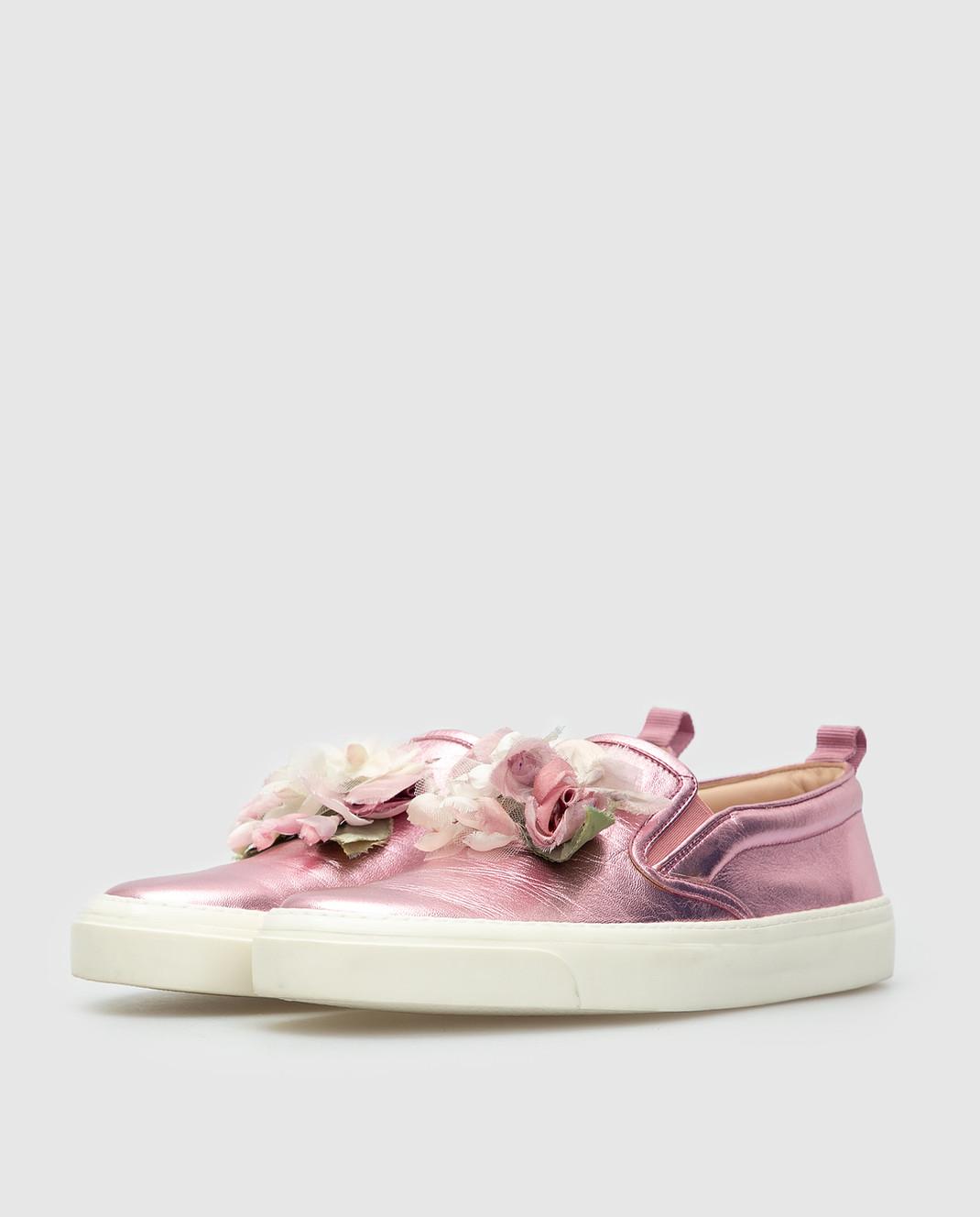 Gucci Розовые кожаные слипоны 414990 изображение 3