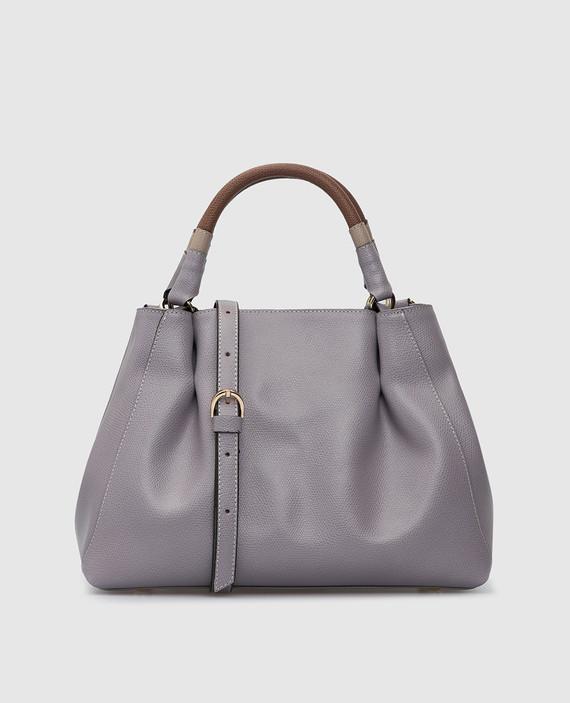 Сиреневая кожаная сумка