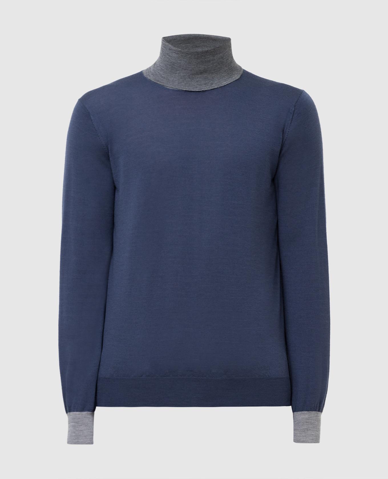 Темно-синий пуловер из шерсти и кашемира