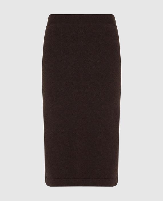 Коричневая юбка из кашемира