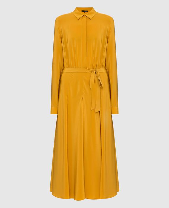 Горчичное платье из шелка
