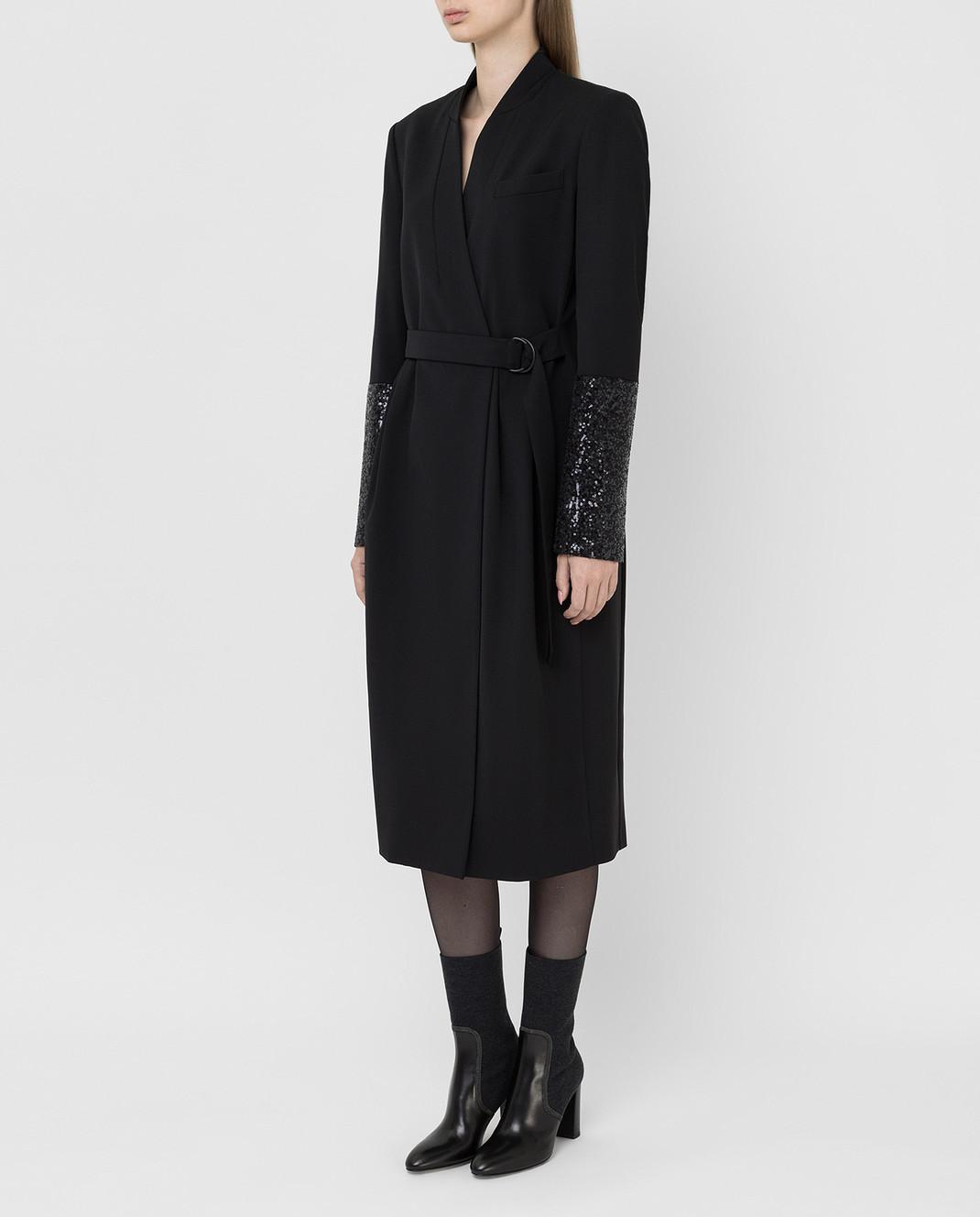 Brunello Cucinelli Черное платье из шерсти изображение 3