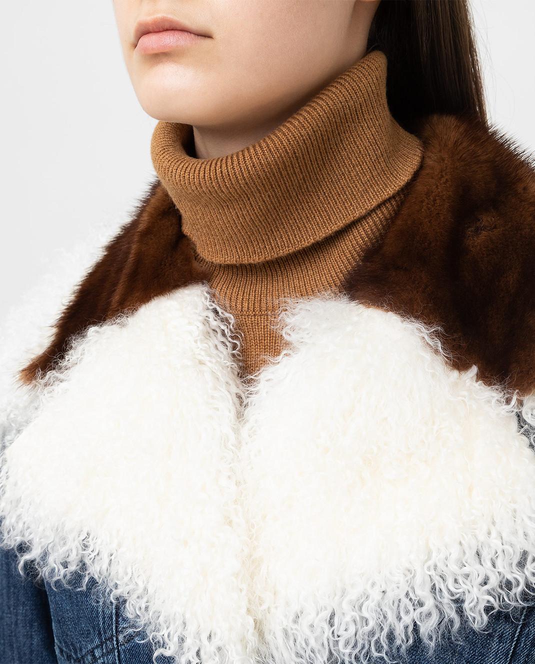 Simonetta Ravizza Синяя джинсовая куртка с мехом норки JALE3 изображение 5