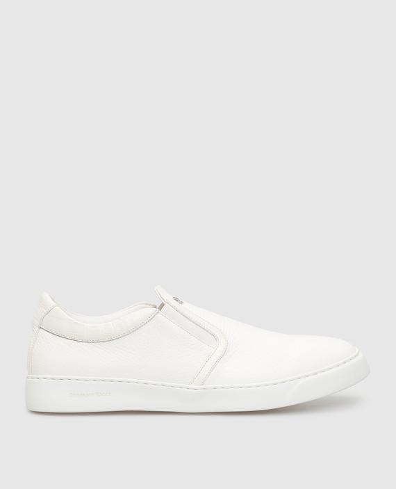 Белые кожаные слипоны