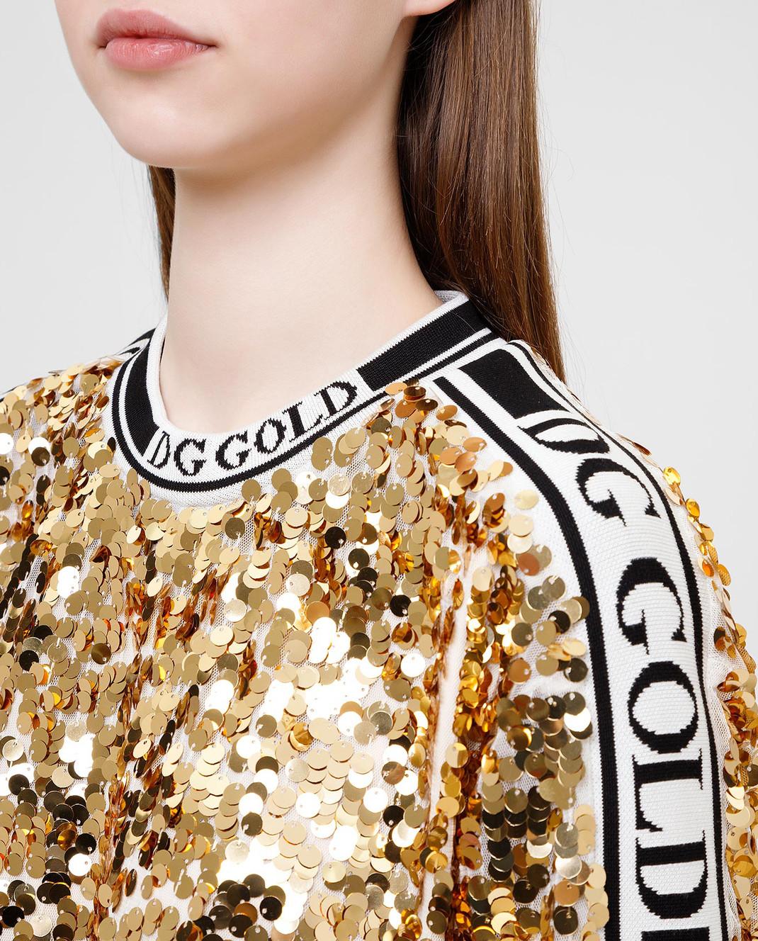 Dolce&Gabbana Золотистая футболка изображение 5
