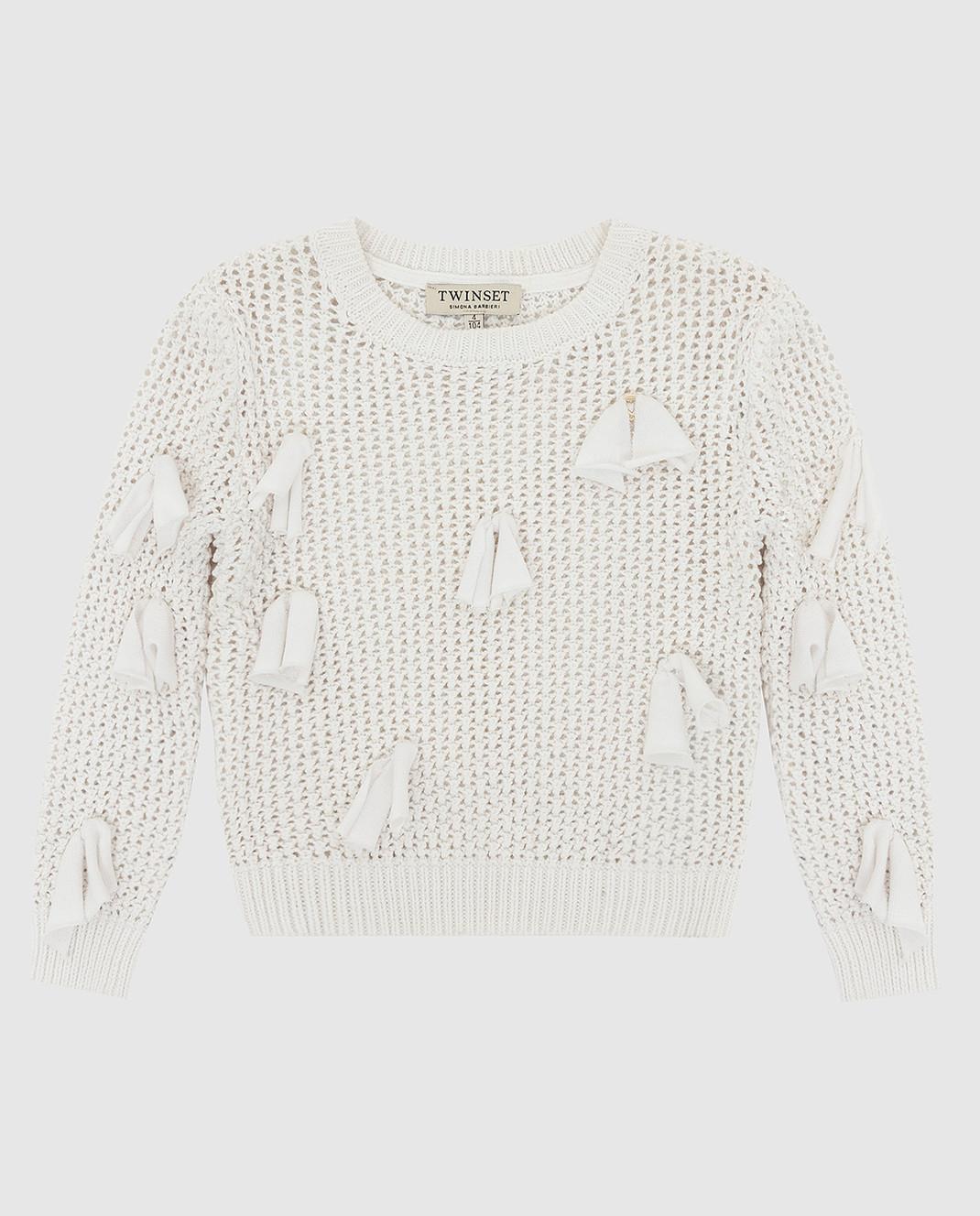 Twin Set Детский белый свитер FS83BA