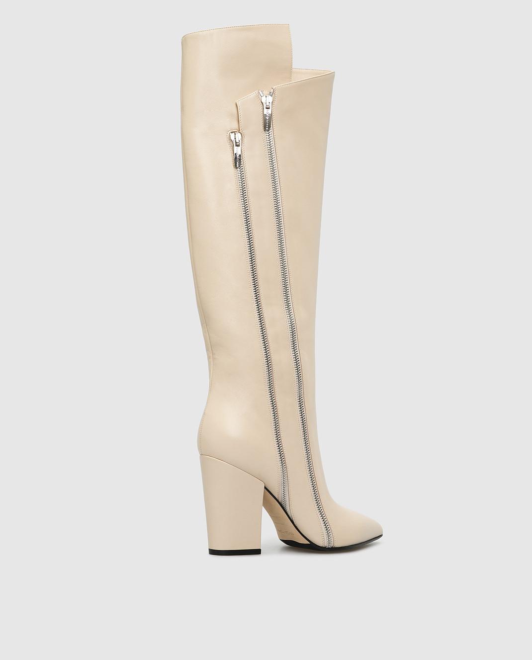 Sergio Rossi Светло-бежевые кожаные сапоги изображение 4