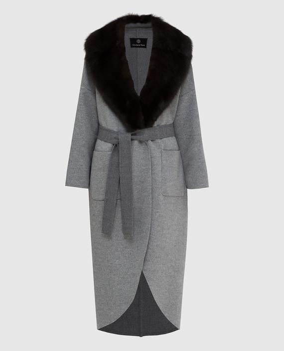 Серое пальто из шерсти и кашемира с воротником из меха соболя