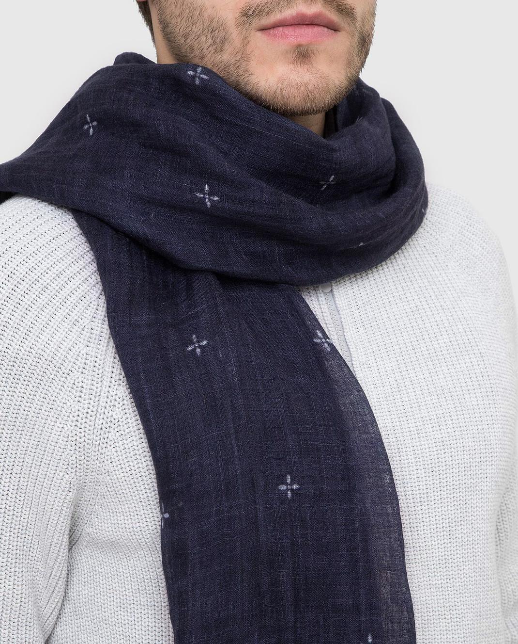 Brunello Cucinelli Темно-синий шарф из льна MSC600AG изображение 2