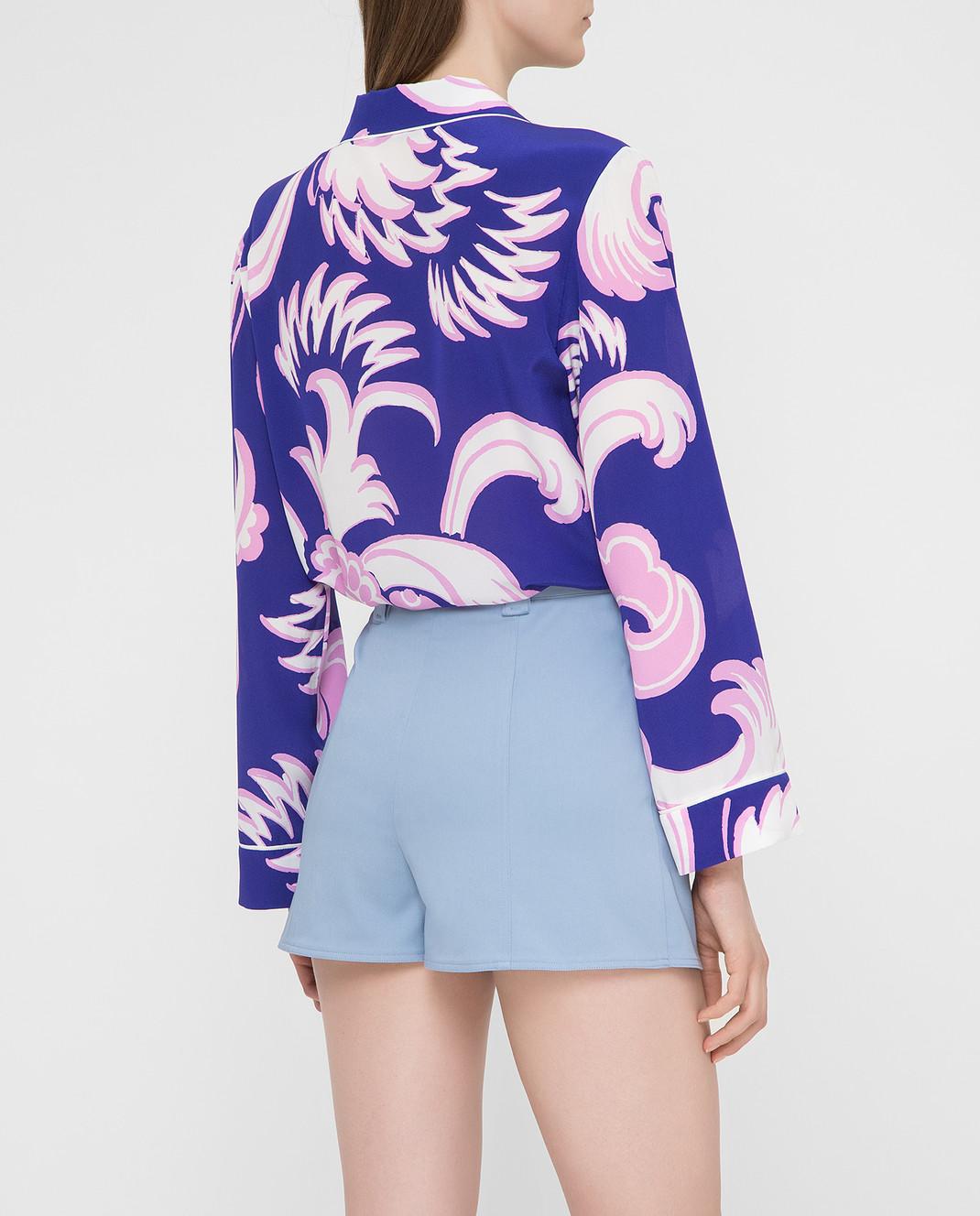 Valentino Фиолетовая блуза из шелка RB0AB0Y64HV изображение 4