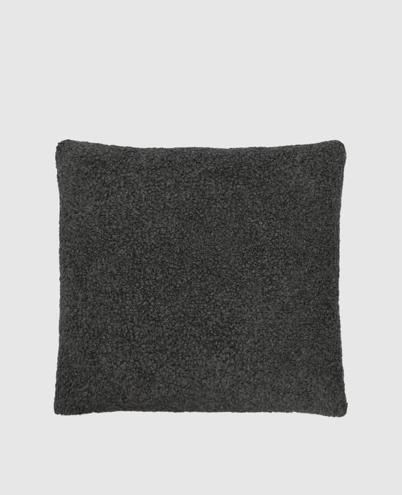 Темно-серая подушка из верблюжьей шерсти и шелка