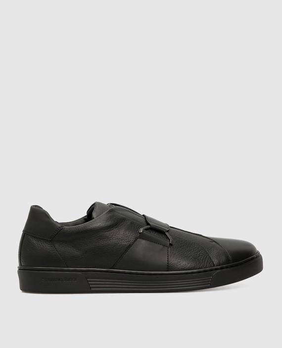 Черные кожаные сникеры