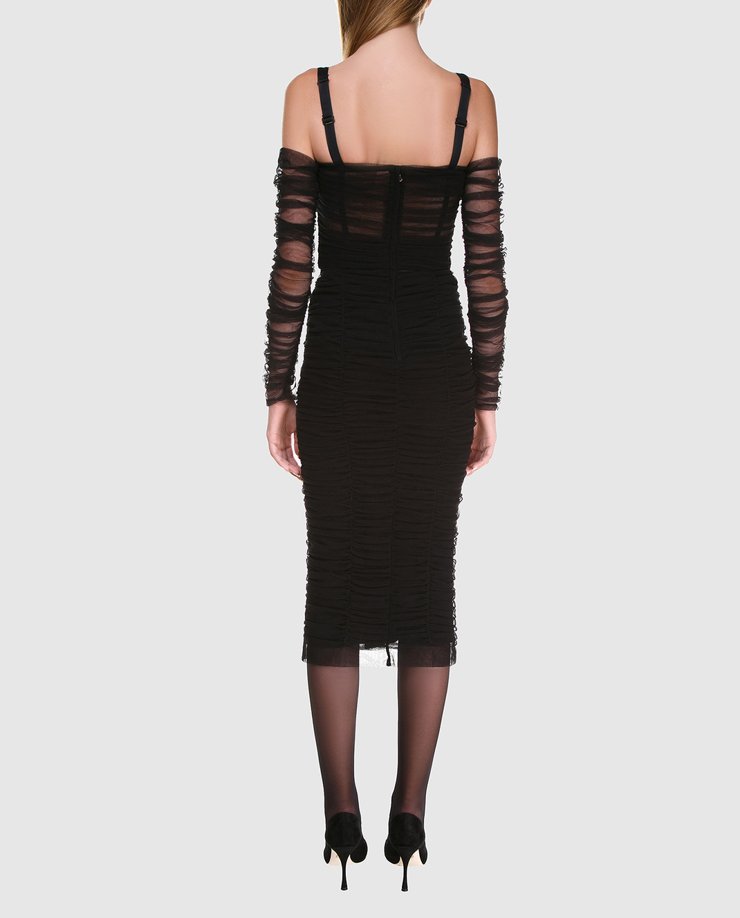 Dolce&Gabbana Черное платье F6A9QTFLEAA изображение 4