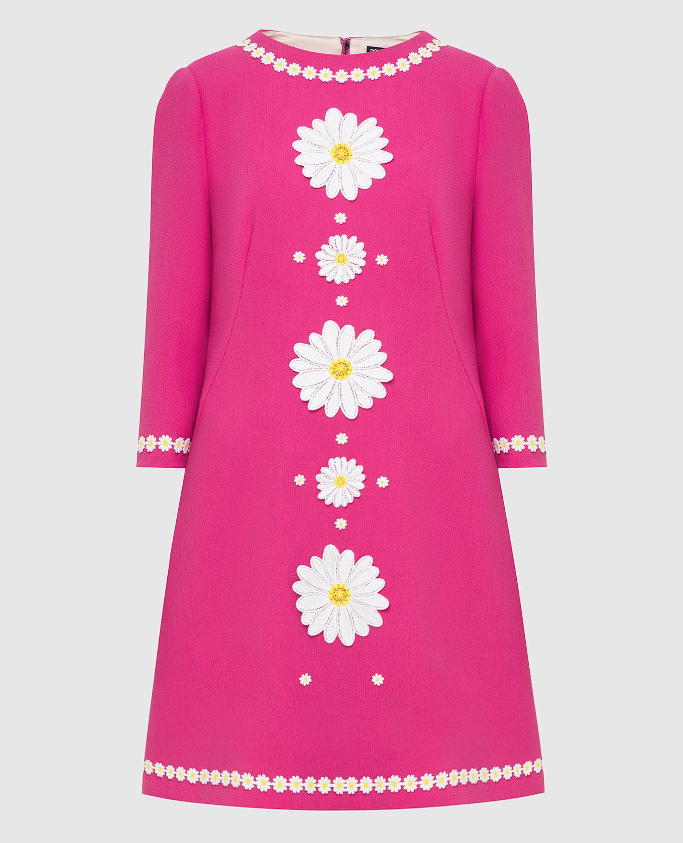Розовое платье из шерсти