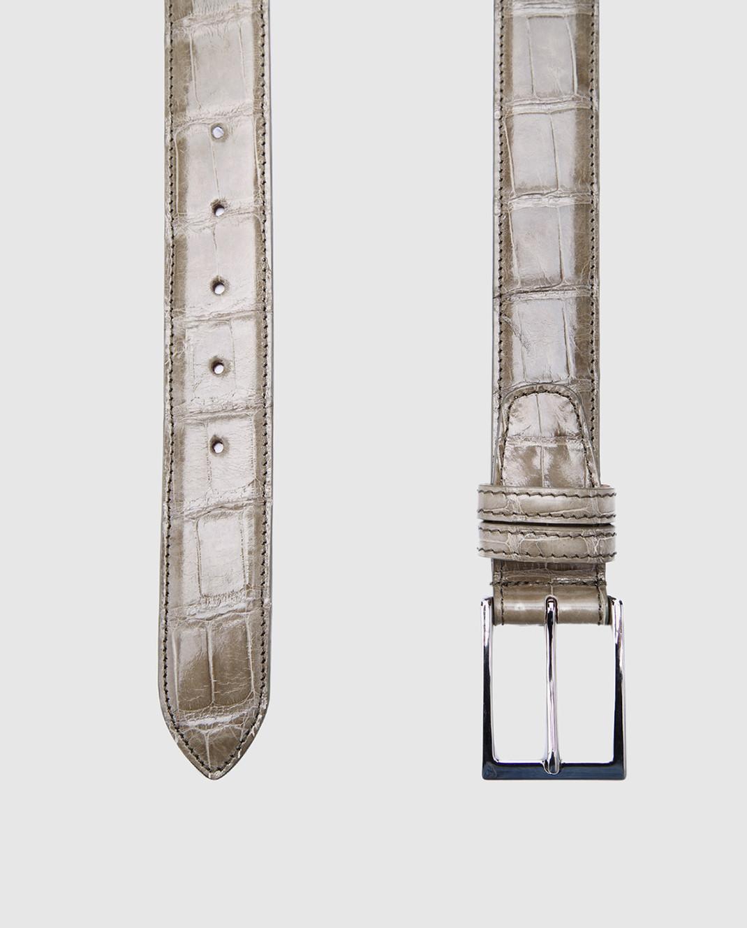 Bochicchio Оливковый кожаный ремень ALLIGATBELTS изображение 2