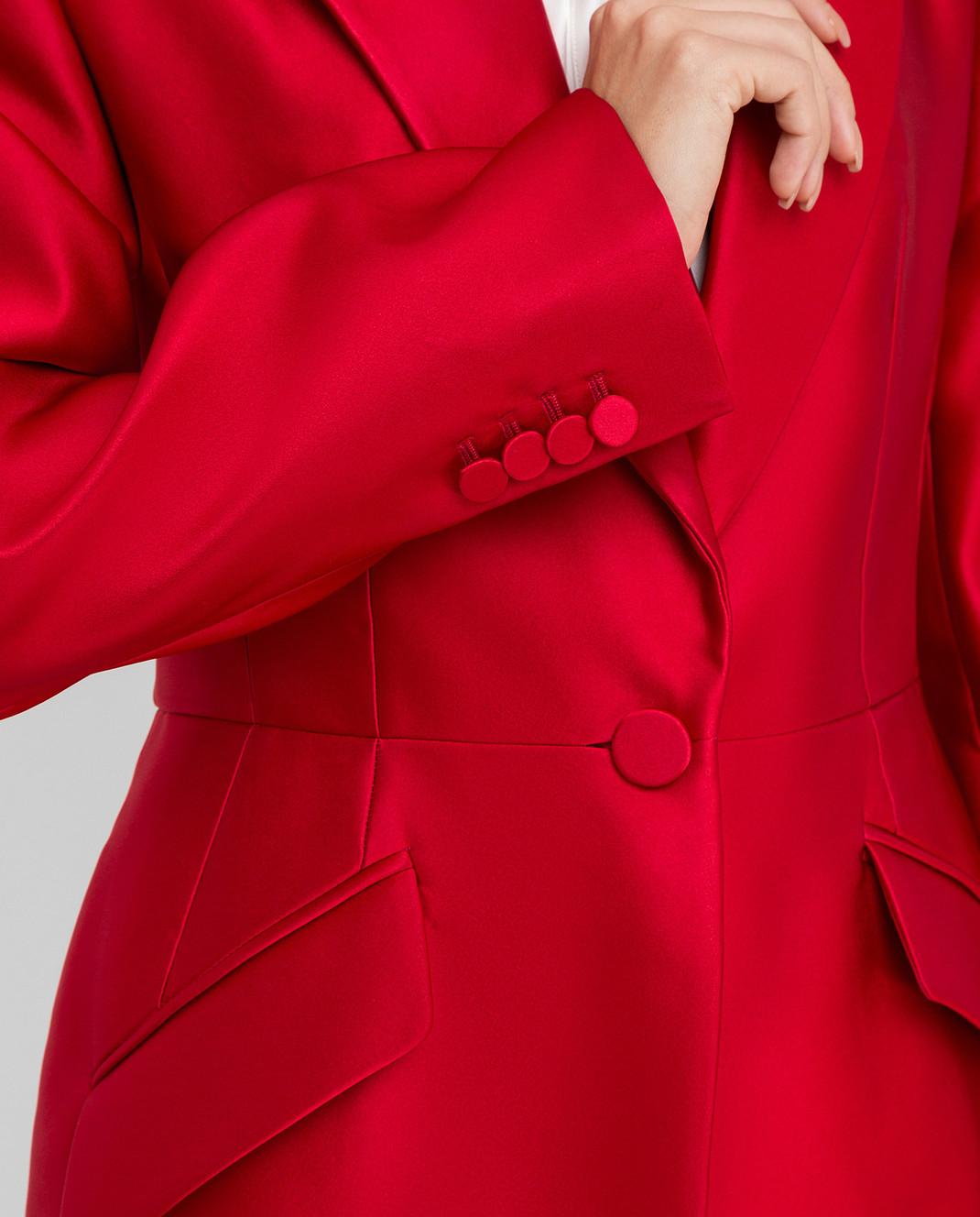 Alexander McQueen Красный жакет из шелка изображение 5