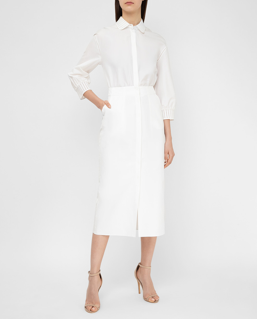 Loro Piana Белое платье F1FAI0540 изображение 2