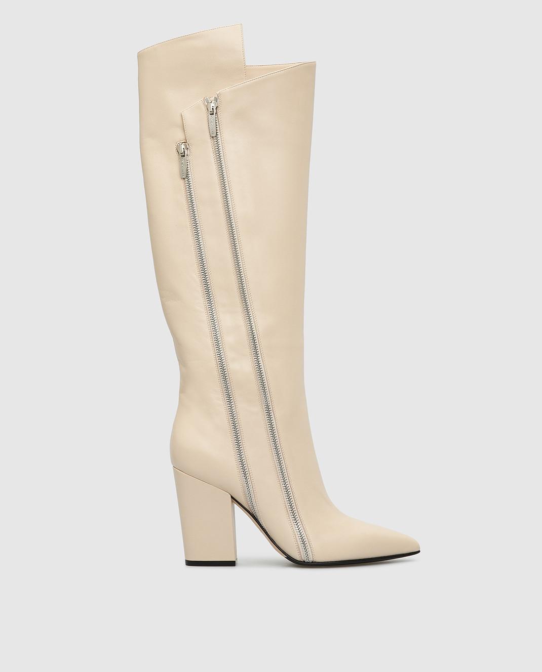 Sergio Rossi Светло-бежевые кожаные сапоги изображение 1