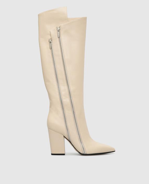 Светло-бежевые кожаные сапоги