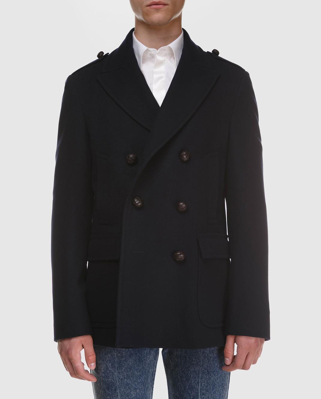Gucci Темно-синее пальто из шерсти и кашемира 523628 изображение 3