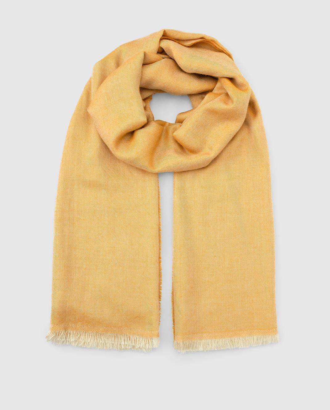 Bertolo Cashmere Желтый шарф из кашемира и шелка 000238