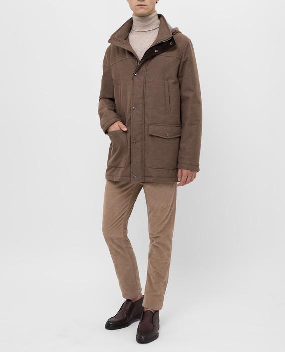 Коричневая куртка из шерсти hover