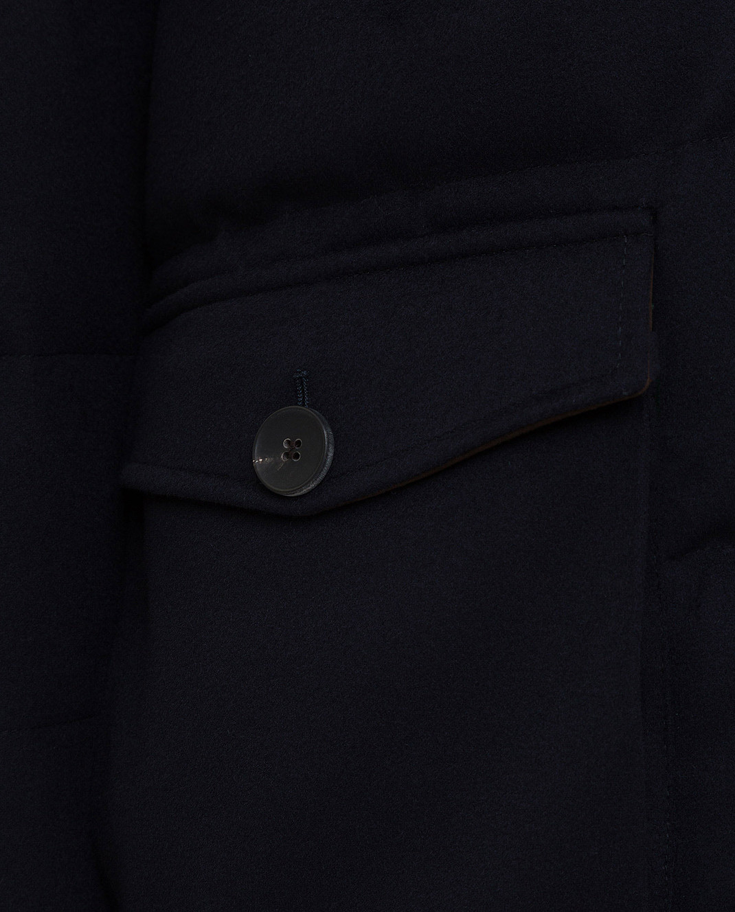 Heresis Темно-синий пуховик из шерсти с мехом енота PARKASTORMLANAVISCOSA изображение 5